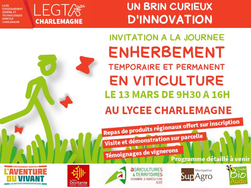 Journée sur l'enherbement en viticulture sur Lycée agricole Charlemagne de Carcassonne